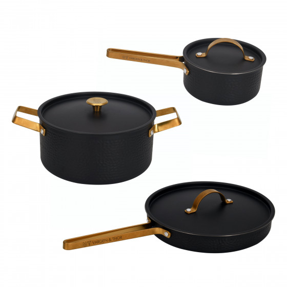 ARVET – Set, 3st kokkärl i mattsvart + mässing